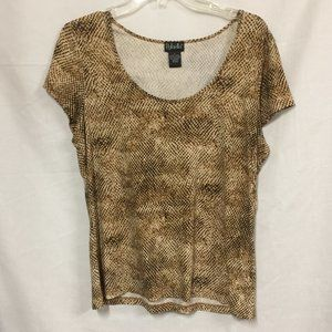 DARLING SCOOP NECK TEE ANIMAL PRINT SIZE LARGE